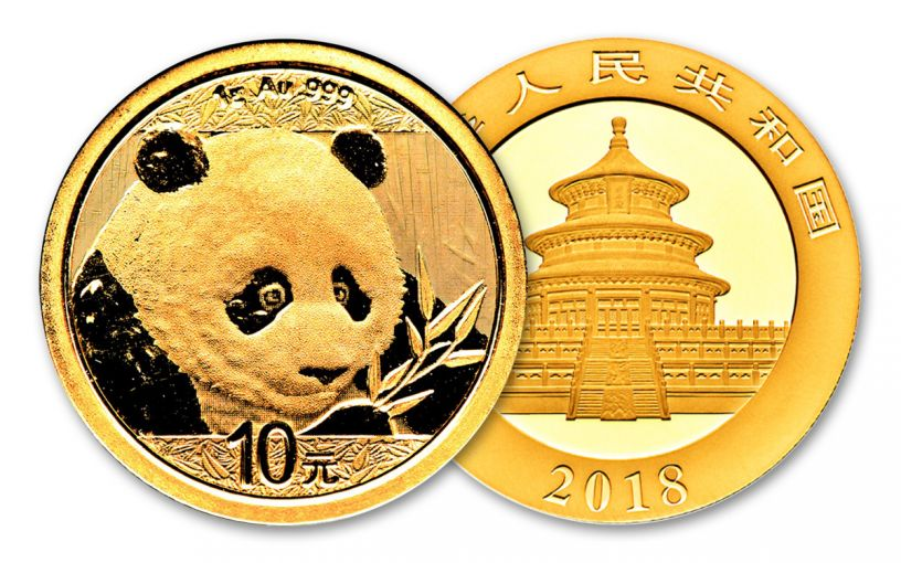 2018 China 1 Gram Gold Panda Brilliant Uncirculated