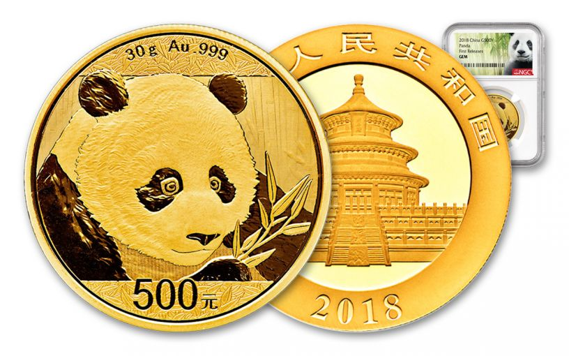 2018 China 30 Gram Gold Panda NGC Gem Brilliant Uncirculated First Releases - White