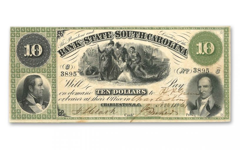 1861 10 Dollar South Carolina Note F-VF