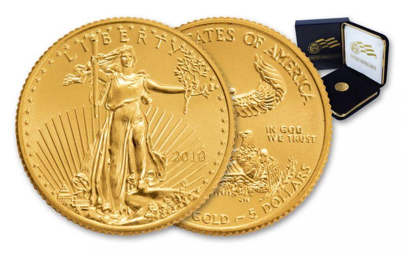 2018 5 Dollar 1/10-oz Gold Eagle BU In U.S. Mint Presentation Box
