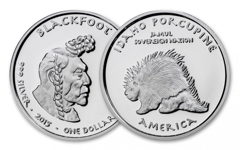 2015 Idaho 1 Dollar 1-oz Silver Porcupine Blackfoot Proof