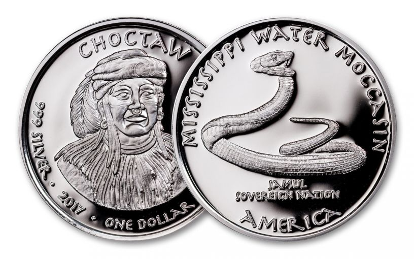 2017 Mississippi 1 Dollar 1-oz Silver Choctaw Moccasin Proof