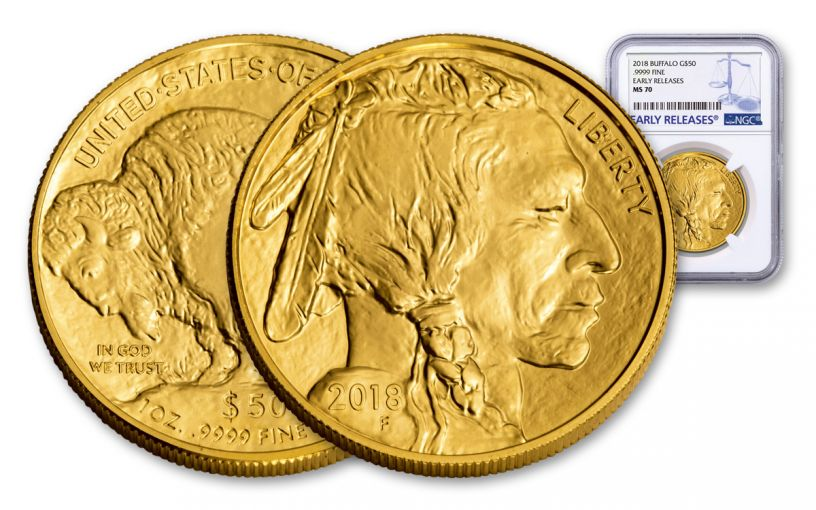 2018 50 Dollar 1-oz Gold Buffalo NGC MS70 Early Releases