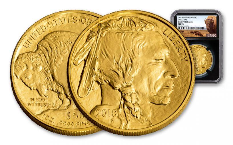 2018 50 Dollar 1-oz Gold Buffalo NGC MS70 Early Releases Buffalo Label - Black