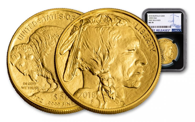 2018 50 Dollar 1-oz Gold Buffalo NGC MS70 First Releases - Black