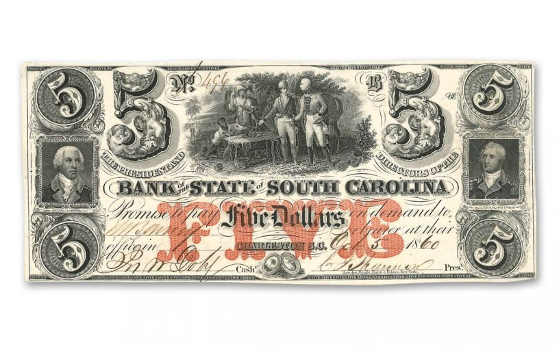 1860-1861 5 Dollar South Carolina Note XF