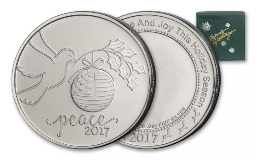 2017 1-oz Silver Peace Dove Round - Green Box