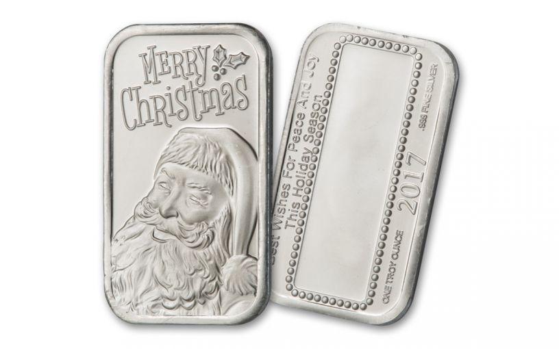 2017 1-oz Silver Merry Christmas Santa Bar