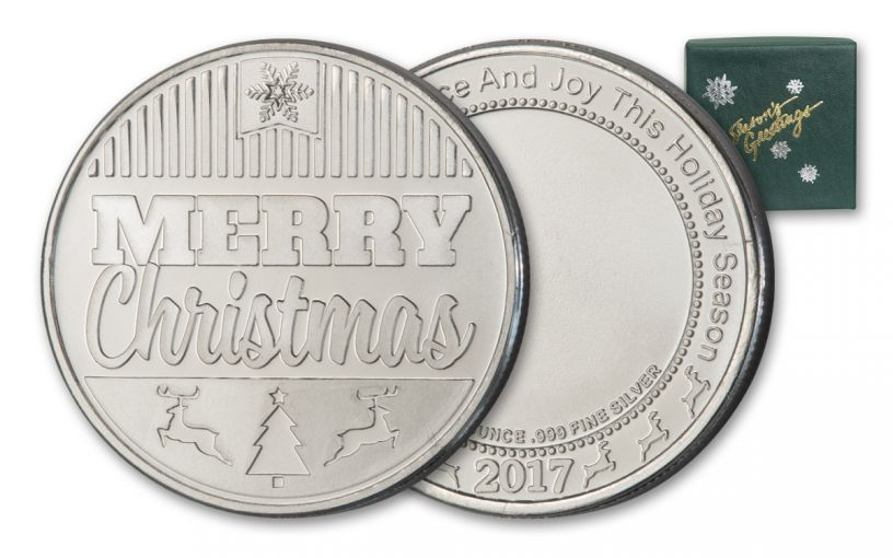 2017 1-oz Silver Merry Christmas Round - Green Box
