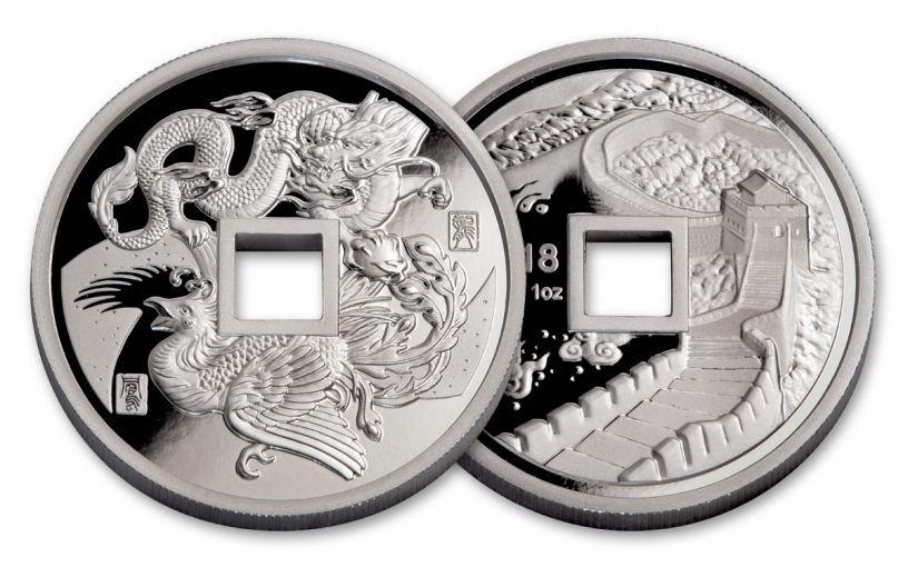 2018 China 1-oz Silver Phoenix & Dragon NGC Gem Proof