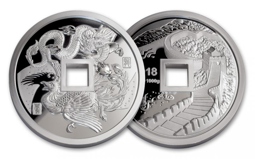 2018 China Kilo Silver Phoenix & Dragon Proof