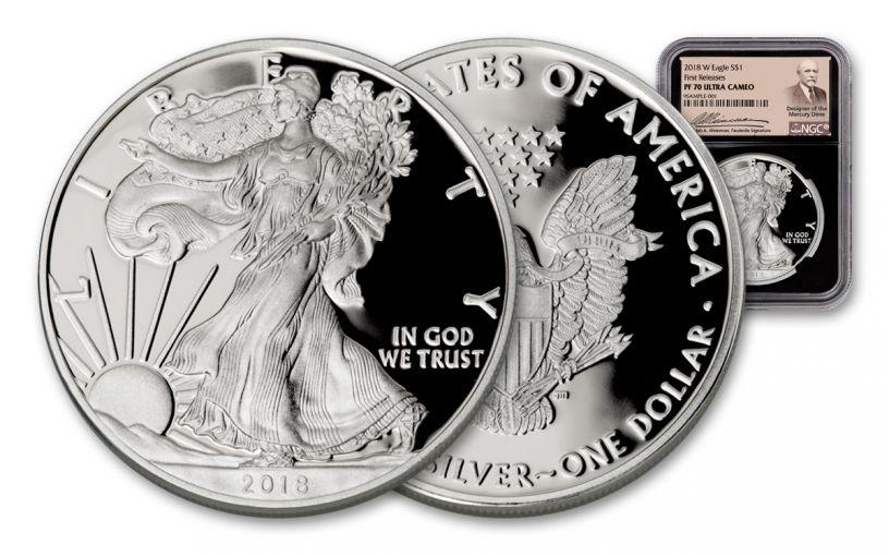 2018-W 1 Dollar 1-oz Silver Eagle NGC PF70UCAM First Releases Weinman - Black