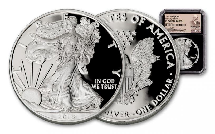 2018-W 1 Dollar 1-oz Silver Eagle NGC PF70UCAM First Day Of Issue Weinman - Black