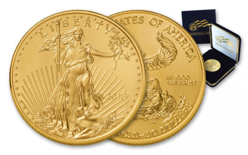 2018 50 Dollar 1-oz Gold Eagle BU in U.S. Mint Presentation Box