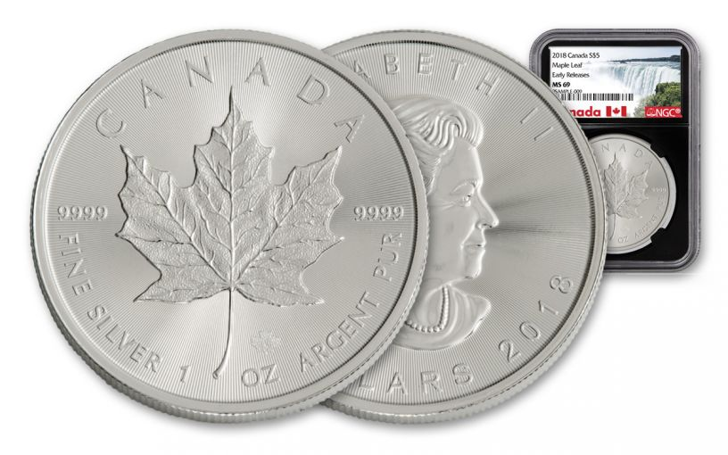 2018 Canada 1-oz Silver Maple Leaf NGC MS69- Early Release- Black Core