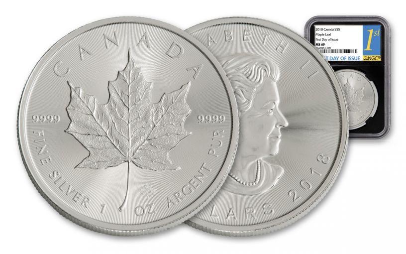 2018 Canada 1-oz Silver Maple Leaf NGC MS69- FDI- Black Core