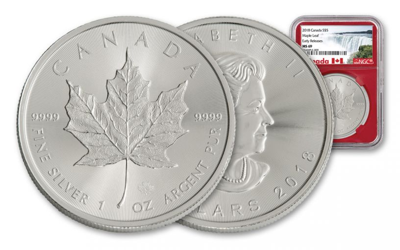 2018 Canada 1-oz Silver Maple Leaf NGC MS69- Early Release- Red Core