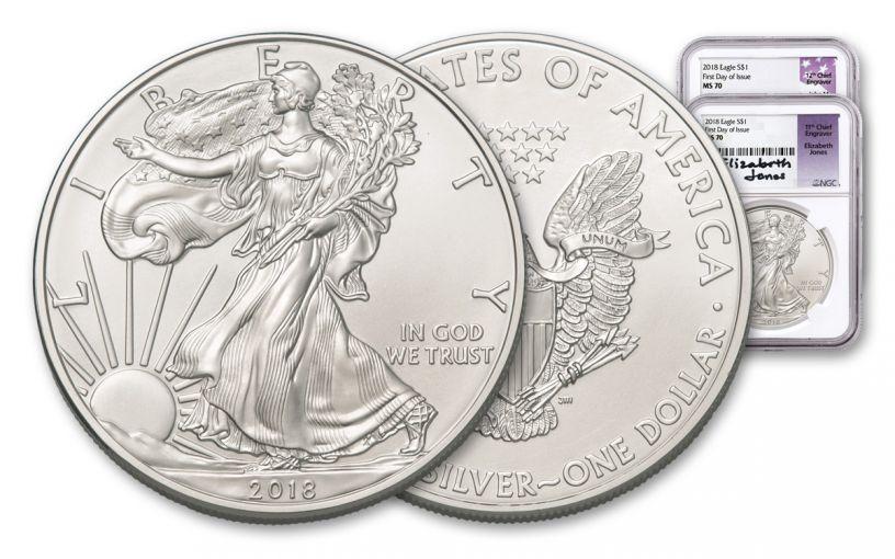 2018 1 Dollar 1-oz Silver Eagle NGC MS70 First Day Of Issue Mercanti Jones Signed 2pc Set