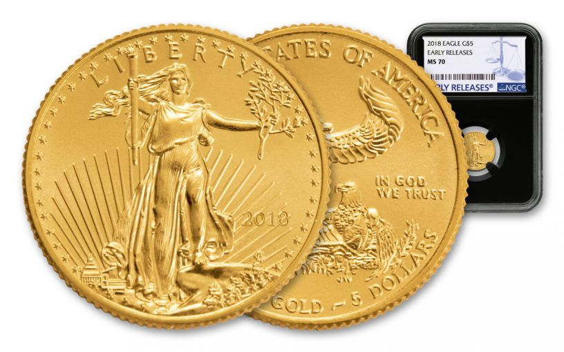 2018 5 Dollar 1/10-oz Gold Eagle NGC MS70 Early Releases - Black