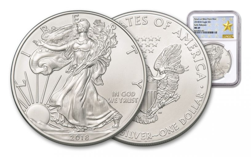 2018-W 1 Dollar 1-oz Silver Eagle NGC MS69 Early Releases Gold Star Label