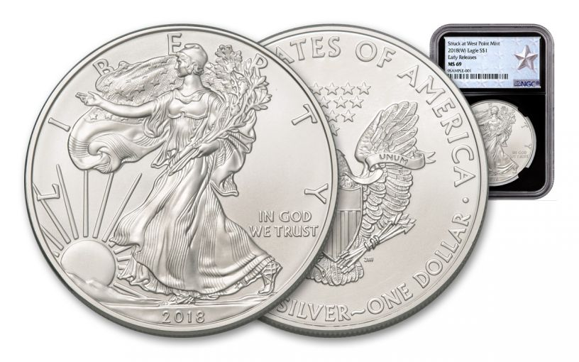 2018-W 1 Dollar 1-oz Silver Eagle NGC MS69 Early Releases Silver Star Label - Black
