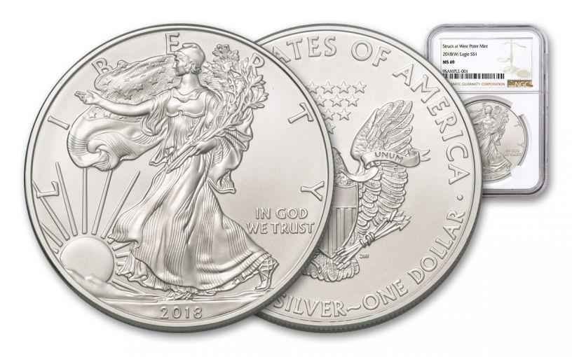 2018-W 1 Dollar 1-oz Silver Eagle NGC MS69 Brown Label