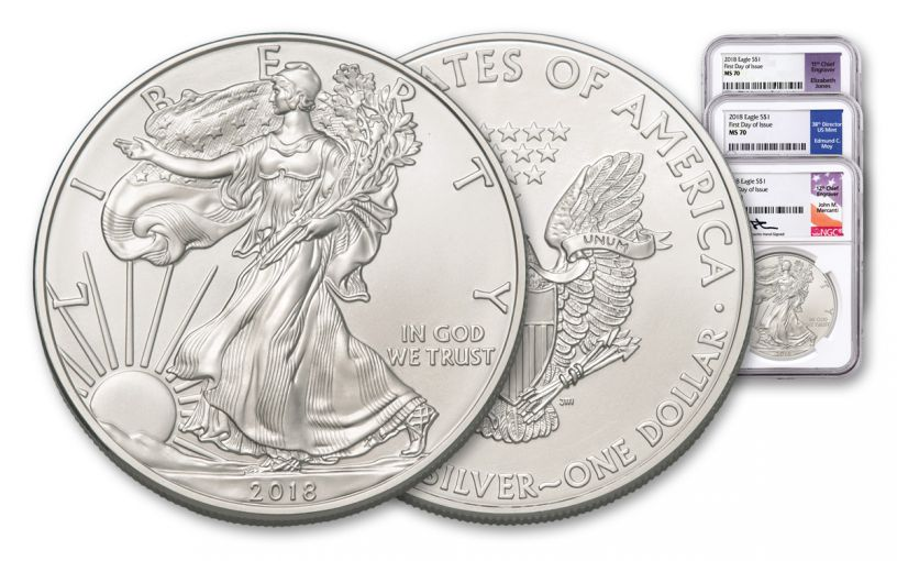 2018 1 Dollar 1-oz Silver Eagle NGC MS70 First Day Of Issue Moy Mercanti Jones Signed 3pc Set