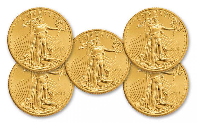 2018 5 Dollar 1/10-oz Gold Eagle BU Lot of 5