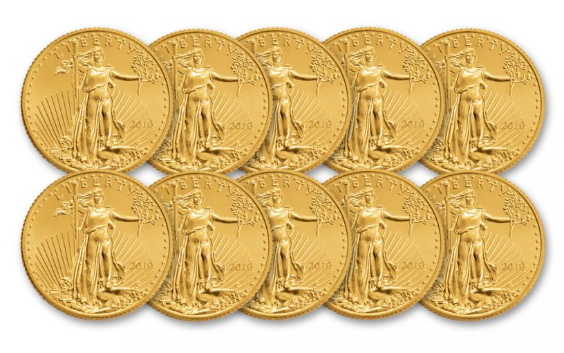 2018 5 Dollar 1/10-oz Gold Eagle BU Lot of 10