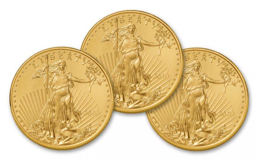 2018 50 Dollar 1-oz Gold Eagle BU Lot of 3