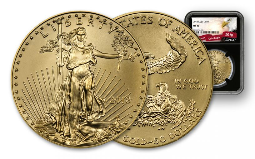2018 50 Dollar 1-oz Gold Eagle NGC MS70 Eagle Label - Black