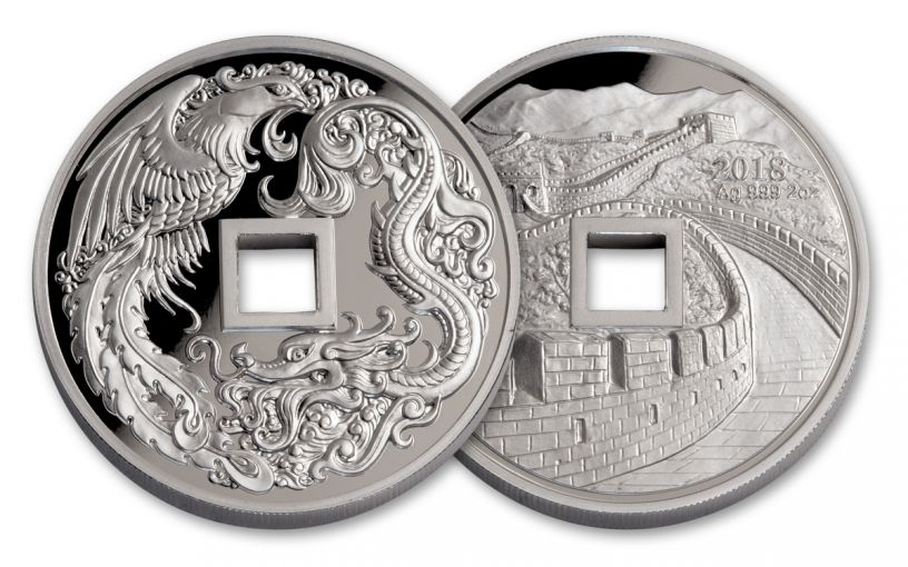 2018 China 2-oz Silver Phoenix & Dragon Proof