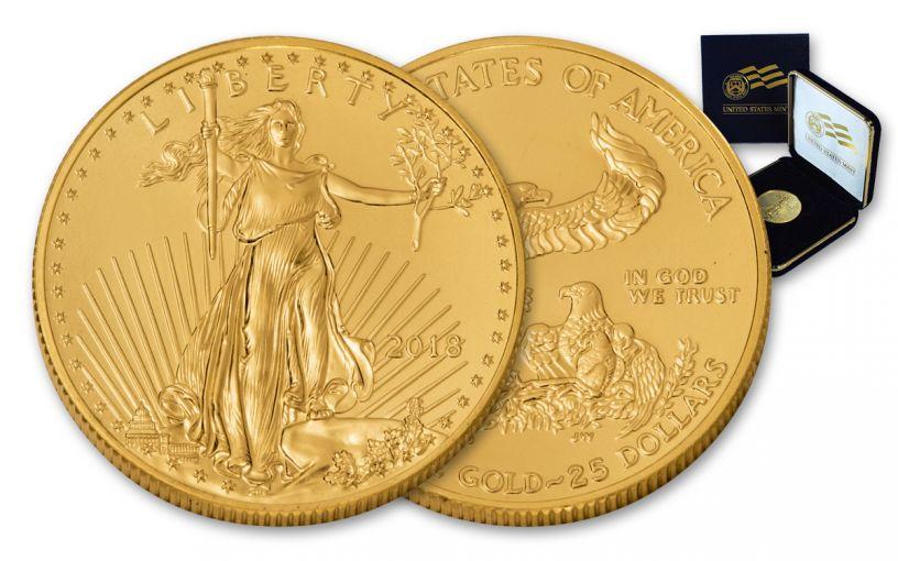 2018 25 Dollar 1/2-oz Gold Eagle BU In U.S. Mint Presentation Box