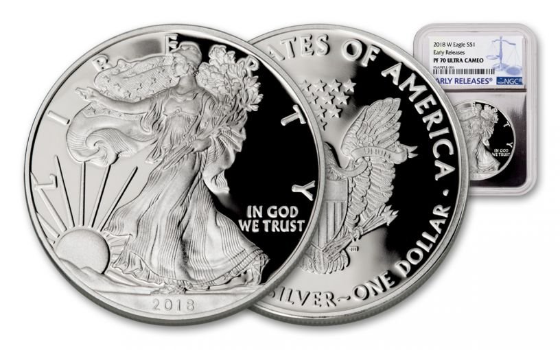 2018-W 1 Dollar 1-oz Silver Eagle NGC PF70UCAM Early Releases - Silver Foil