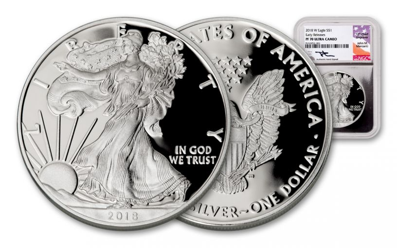 2018-W 1 Dollar 1-oz Silver Eagle NGC PF70UCAM Early Releases Mercanti Signed - Silver Foil