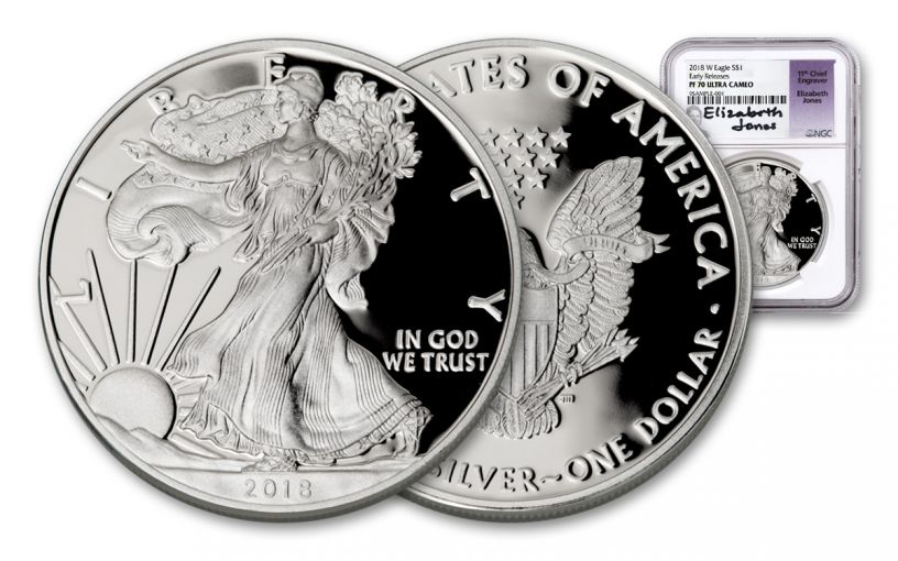 2018-W 1 Dollar 1-oz Silver Eagle NGC PF70UCAM Early Releases Jones Signed
