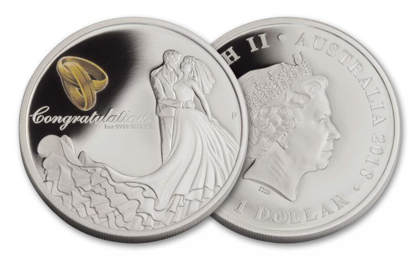 2018 Australia 1 Dollar 1-oz Silver Wedding Proof
