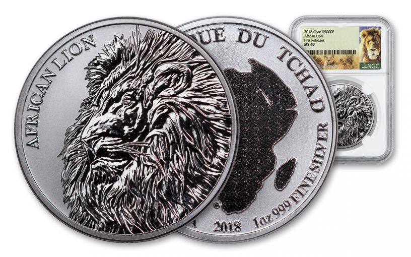 2018 5000 Franc 1-oz Silver African Lion NGC MS69 First Releases