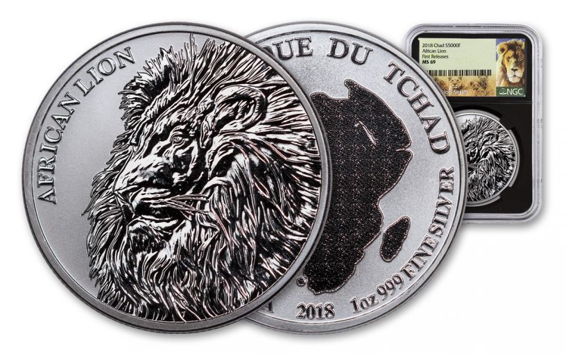 2018 Chad 5000 Franc 1-oz Silver African Lion NGC MS69 First Releases - Black