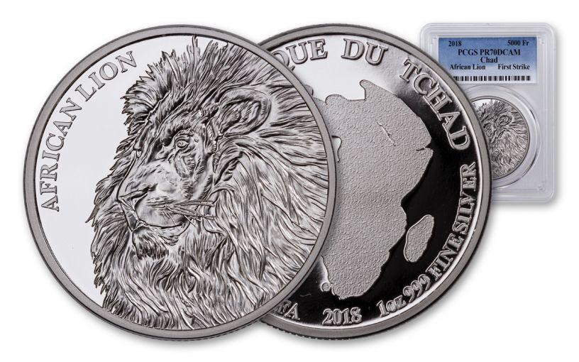 2018 5000 Franc 1-oz Silver African Lion PCGS PR70DCAM First Strike