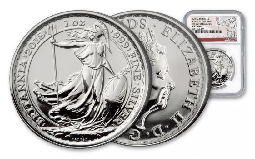 2018 Great Britain 2 Pound 1-oz Silver Britannia NGC MS70DPL First Day of Production