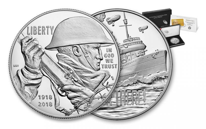 2018-P 1 Dollar Silver World War I Centennial Proof and Navy Medal 2pc Set