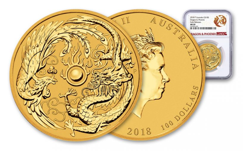 2018 Australia 1-oz Gold & Dragon Phoenix NGC MS69 Early Releases