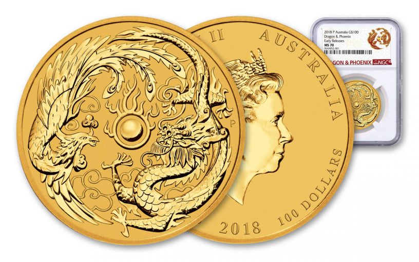 2018 Australia 1-oz Gold Dragon & Phoenix NGC MS70 Early Releases