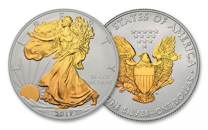 2017 1 Dollar 1-oz Silver Eagle BU With 24kt Gold Gilded Walking Liberty