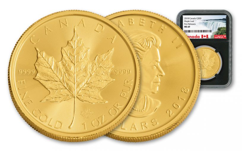 2018 Canada 50 Dollar 1-oz Gold Maple Leaf NGC MS69 First Releases - Black
