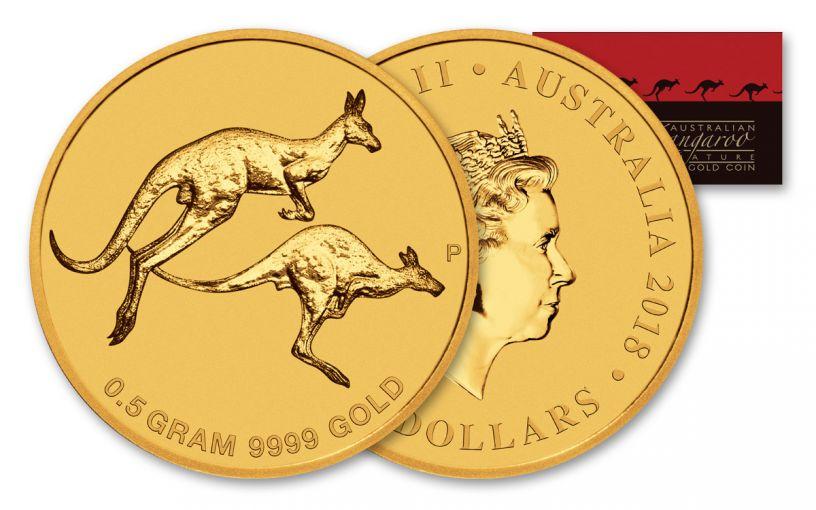 2018 Australia 2 Dollar 1/2 Gram Gold Kangaroo Uncirculated