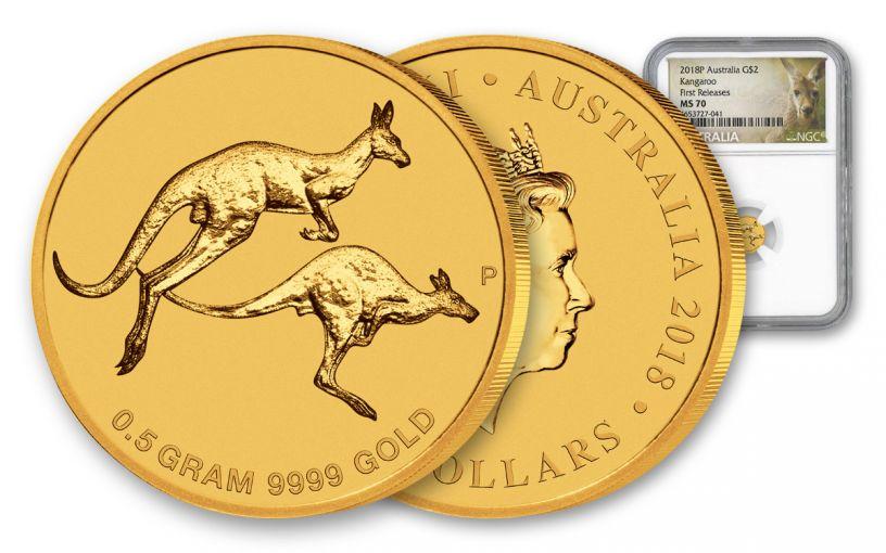 2018 Australia 2 Dollar 1/2 Gram Kangaroo MS70 First Releases