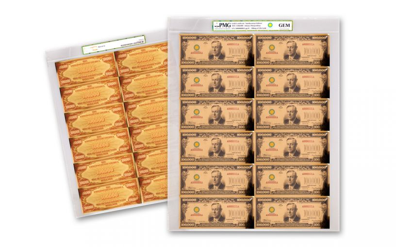 1934 Smithsonian 100,000 Dollar 24K Gold Certificate PMG GEM Uncut Sheet