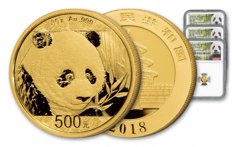 2018 China Gold Panda Mini Prestige NGC MS70 First Day Of Issue - White